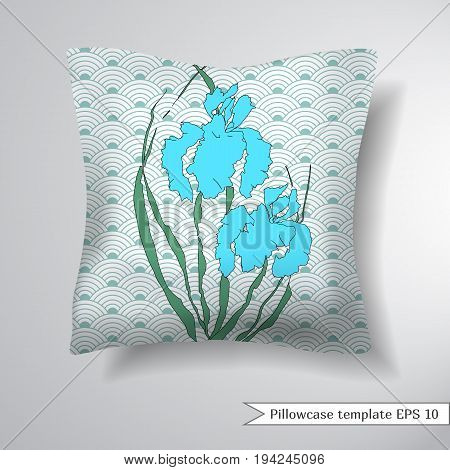 Creative sofa square pillow. Decorative pillowcase design template. Floral round pattern with hand-drawing irises. Background with a traditional Asian pattern from of stylized waves or fan