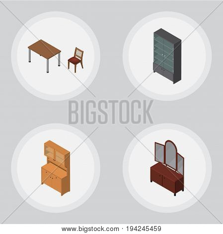 Isometric Furnishing Set Of Chair, Sideboard, Cupboard And Other Vector Objects. Also Includes Sideboard, Wardrobe, Chair Elements.