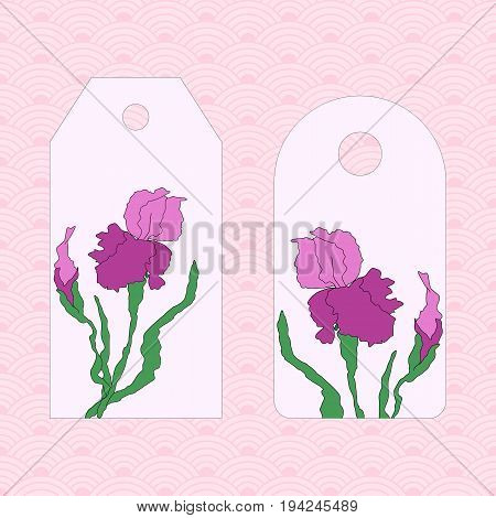 Label, badge, price tag. Vectorized irises, hand-drawing illustration. Stylized traditional Chinese painting, Japanese art sumi-e
