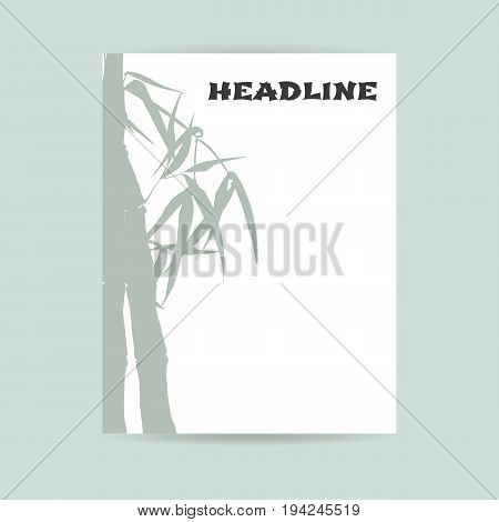 Flyer design. Letter format. Hand-drawing ink illustration. Branches and bamboo leaves. traditional Chinese painting, Japanese art sumi-e, vector