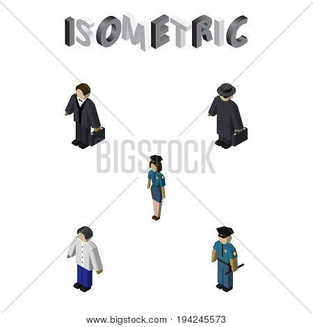 Isometric People Set Of Detective, Officer, Investor And Other Vector Objects. Also Includes Female, Investor, Police Elements.