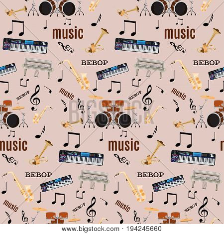 Vector seamless pattern with bebop jazz music instruments. Flat style design.