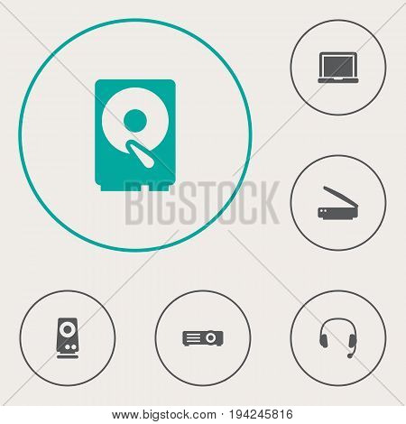 Set Of 6 Laptop Icons Set.Collection Of Show, Hard Disk, Headset And Other Elements.