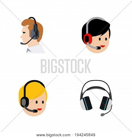 Flat Icon Call Set Of Call Center, Operator, Telemarketing And Other Vector Objects. Also Includes Center, Telemarketing, Headset Elements.