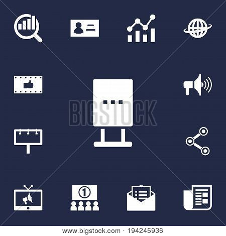 Set Of 13 Commercial Icons Set.Collection Of Bullhorn, Message, Like And Other Elements.