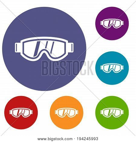 Skiing mask icons set in flat circle reb, blue and green color for web