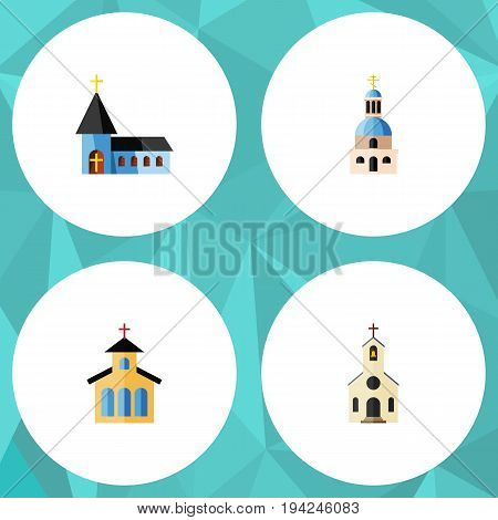 Flat Icon Building Set Of Christian, Church, Catholic And Other Vector Objects. Also Includes Catholic, Building, Church Elements.