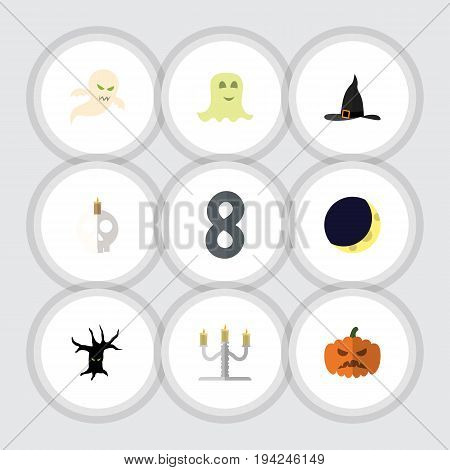 Flat Icon Halloween Set Of Candlestick, Crescent, Witch Cap Vector Objects. Also Includes Terrible, Candle, Crescent Elements.