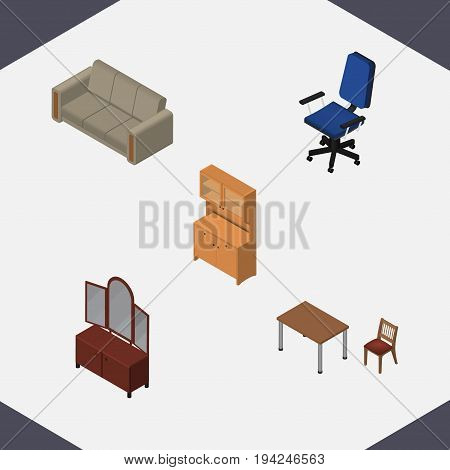 Isometric Design Set Of Chair, Drawer, Cupboard And Other Vector Objects. Also Includes Wardrobe, Couch, Cupboard Elements.