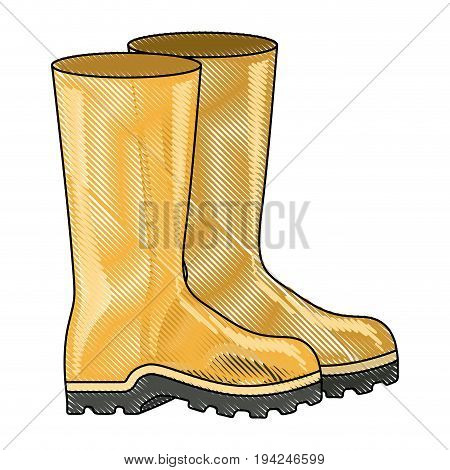 colored pencil silhouette of fishing plastic boots accesory vector illustration