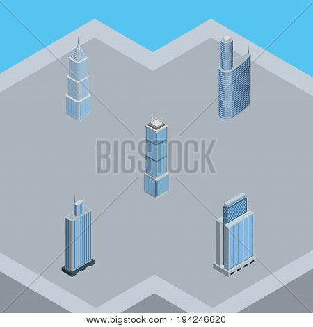 Isometric Building Set Of Urban, Building, Apartment And Other Vector Objects. Also Includes Exterior, Business, Urban Elements.