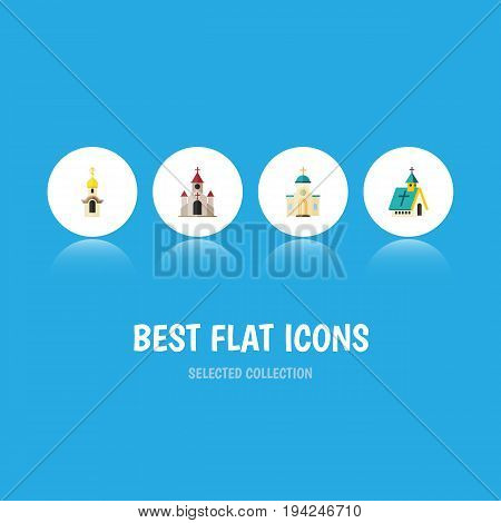 Flat Icon Building Set Of Traditional, Structure, Religious And Other Vector Objects. Also Includes Traditional, Structure, Christian Elements.