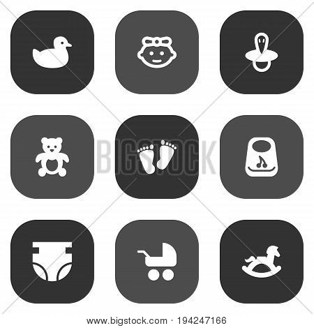 Set Of 9 Baby Icons Set.Collection Of Breastplate, Duck, Equine And Other Elements.