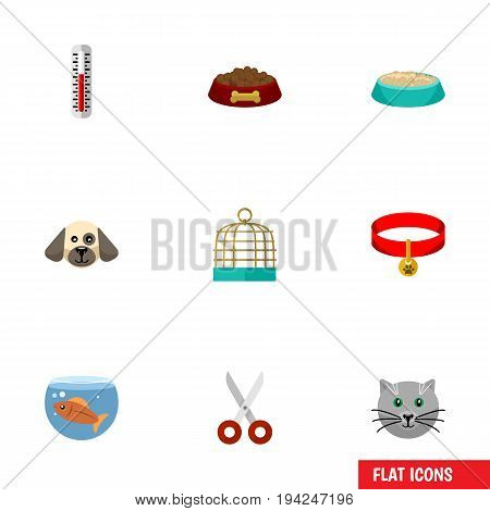 Flat Icon Pets Set Of Kitty, Temperature Measurement, Fishbowl And Other Vector Objects. Also Includes Birdcage, Fishbowl, Clippers Elements.