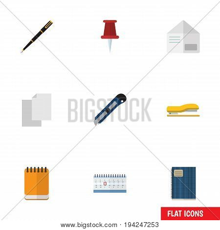 Flat Icon Equipment Set Of Copybook, Nib Pen, Pushpin And Other Vector Objects. Also Includes Almanac, Pointer, File Elements.