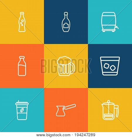 Set Of 9 Beverages Outline Icons Set.Collection Of Wine Cask, Champagne, Dairy And Other Elements.