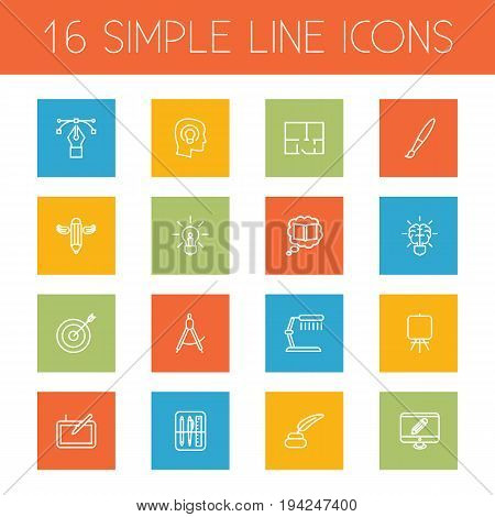 Set Of 16 Creative Outline Icons Set.Collection Of Dividers, Monitor, Inkwell With Pen And Other Elements.