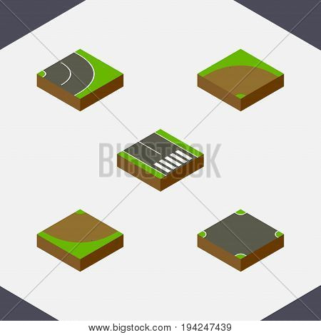 Isometric Way Set Of Asphalt, Crossroad, Pedestrian And Other Vector Objects. Also Includes Bitumen, Sand, Road Elements.