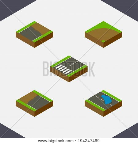 Isometric Road Set Of Incomplete, Plash, Sand Vector Objects. Also Includes Unfinished, Footpassenger, Incomplete Elements.