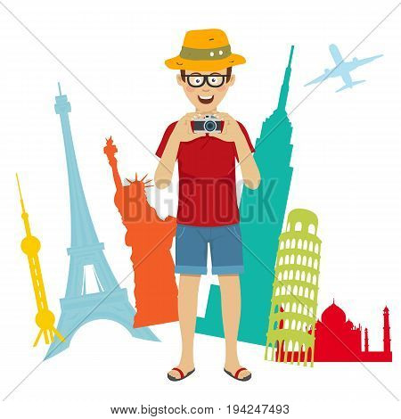 Happy tourist photographer man standing over world sightseeing. Full length portrait