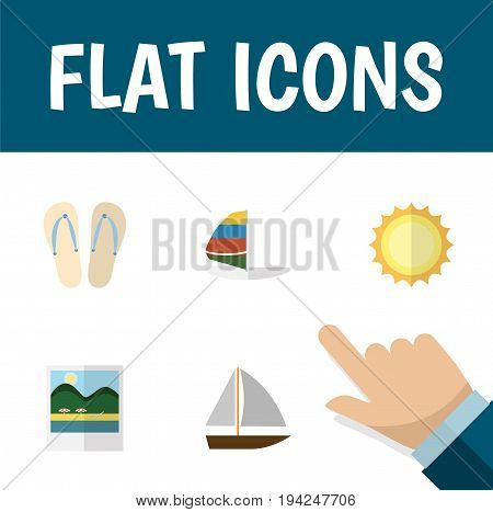 Flat Icon Summer Set Of Yacht , Reminders, Beach Sandals Vector Objects. Also Includes Foto, Yacht, Reminders Elements.