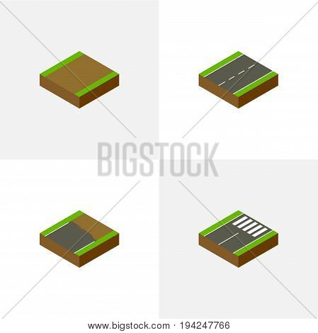 Isometric Road Set Of Driveway, Footpath, Unfinished And Other Vector Objects. Also Includes Pedestrian, Road, Unfinished Elements.