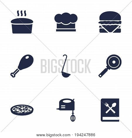 Set Of 9 Culinary Icons Set.Collection Of Poultry Foot, Scoop, Blender And Other Elements.