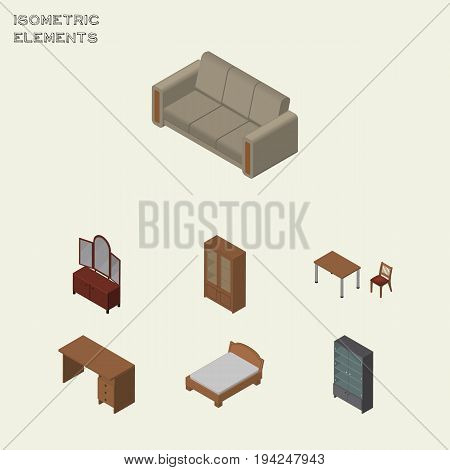 Isometric Furnishing Set Of Table, Cabinet, Bedstead And Other Vector Objects. Also Includes Desk, Bedstead, Cabinet Elements.