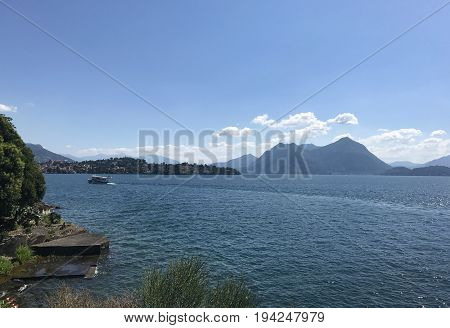 Lake Maggiore Italy mountains water and boat landscape