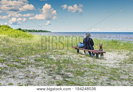 Sandy beach of the Baltic Sea in vicinity Kaltene village, Latvia, Europe
