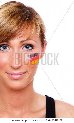 German female soccer fan being happy