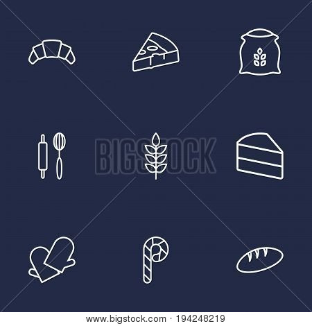 Set Of 9 Cooking Outline Icons Set.Collection Of Wheat, Flour, Rolling Pin And Other Elements.