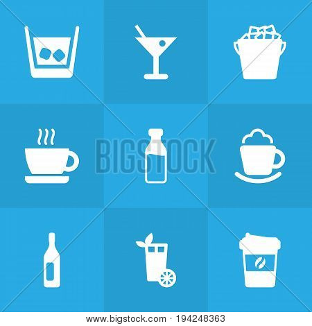 Set Of 9 Beverages Icons Set.Collection Of Wine, Fridge, Cognac And Other Elements.