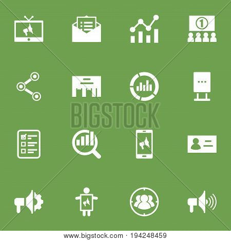Set Of 16 Commercial Icons Set.Collection Of Group, Billboard, Id And Other Elements.