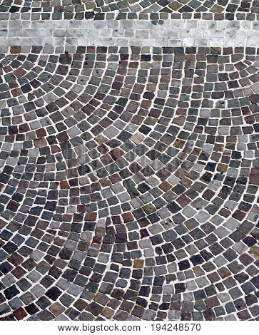 aerial view of a cobblestone paving with circular pattern