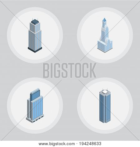Isometric Building Set Of Skyscraper, Urban, Cityscape And Other Vector Objects. Also Includes Skyscraper, Tower, Urban Elements.