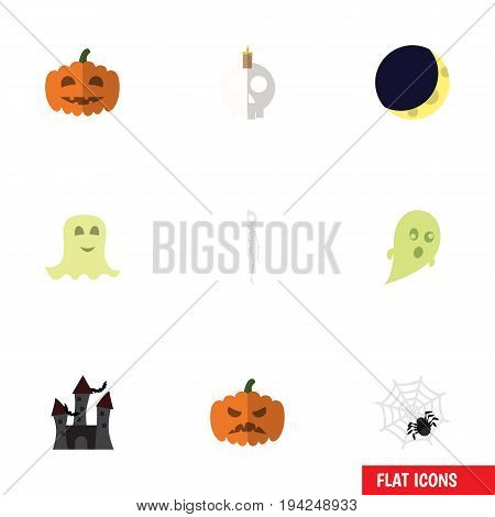 Flat Icon Celebrate Set Of Pumpkin, Spinner, Gourd And Other Vector Objects. Also Includes Arachnid, Fortress, Midnight Elements.