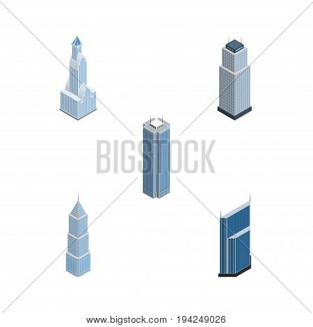 Isometric Skyscraper Set Of Skyscraper, Cityscape, Tower And Other Vector Objects. Also Includes Center, Business, Exterior Elements.