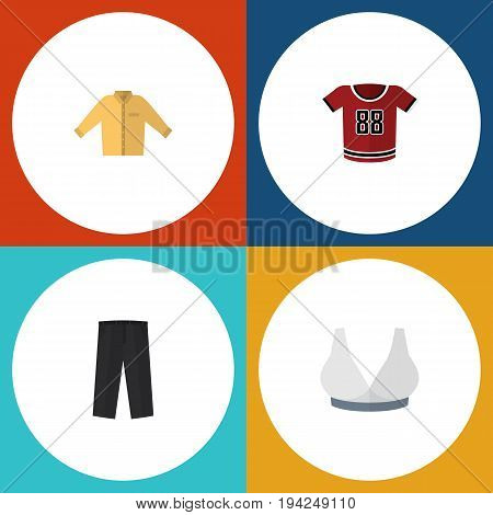 Flat Icon Garment Set Of T-Shirt, Banyan, Pants And Other Vector Objects. Also Includes Trousers, Bra, Uniform Elements.