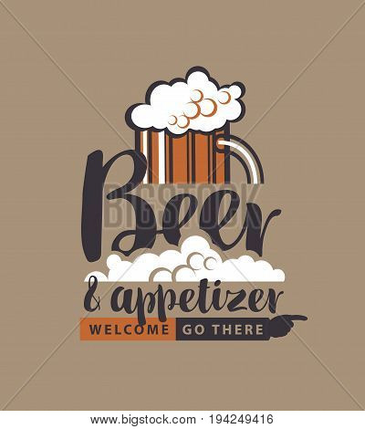 Vector banner with a full glass of frothy beer pointer and the inscription beer and appetizer