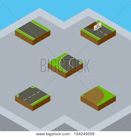 Isometric Road Set Of Upwards, Rotation, Repairs And Other Vector Objects. Also Includes Up, Turning, Road Elements.