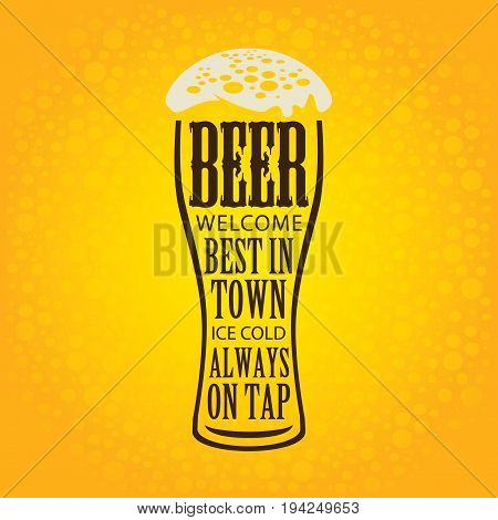 Vector banner with overflowing beer glass and lettering on the beer theme on the yellow bubble background in a retro style.