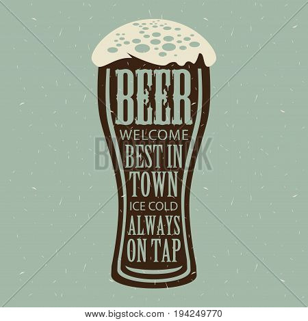 Vector banner with overflowing beer glass and lettering on the beer theme on the gray paper background in a retro style.