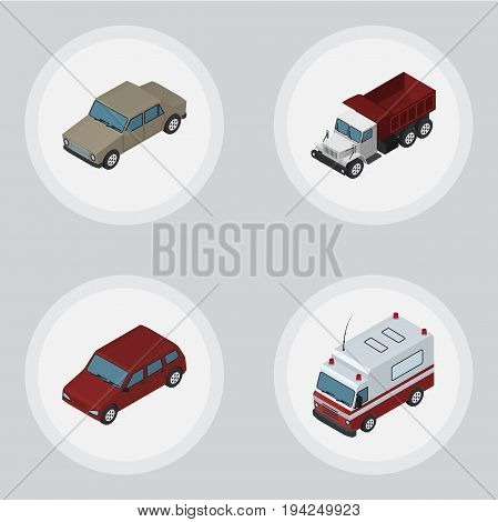 Isometric Automobile Set Of Auto, Car, Freight And Other Vector Objects. Also Includes Ambulance, Auto, Car Elements.