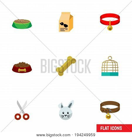 Flat Icon Pets Set Of Rabbit Meal, Nutrition Box, Shears And Other Vector Objects. Also Includes Bird, Cage, Clippers Elements.