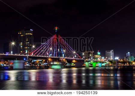 Cable-stayed Bridge In The Night