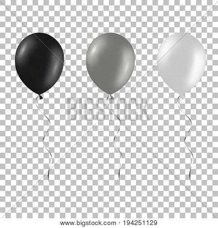 Set of black and silver helium balloons isolated on a transparent background