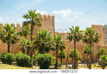 The protective wall of the Kasbah of Udayas in Rabat Morocco Africa.