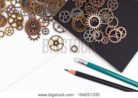 Business Tools And Business Success Concept. Rusty Metal Gears Isolated On A White Background With N