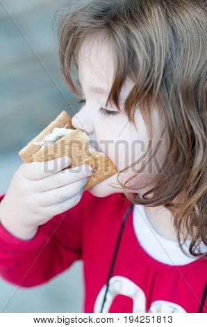 View of Young little girl is eating a s'more made from graham crackers, roasted marshmallows and chocolate. Her mouth is messy and she is taking a toothy bite of the s'more.